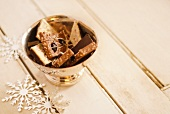 Gourmet Chocolates in a Gold Bowl; Snowflake Decorations