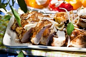 Oven-roasted chicken breast with a mustard crust