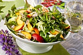 Mixed leaf salad with nectarines