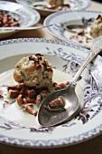 Chanterelle mushroom soup with bacon dumplings