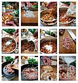 Chanterelle mushroom soup with bacon dumplings being prepared