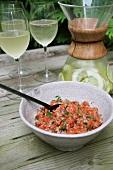 Salmon tartar and limeade