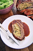 Stuffed veal breast with gravy