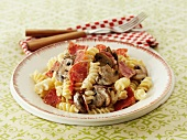 Fusilli with salami and mushrooms