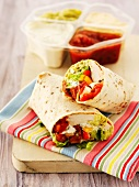 Chicken wraps with dips