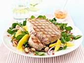 Tuna fish steak with a watercress salad