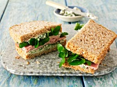 Ham sandwich with watercress