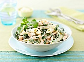 Penne with salmon and watercress