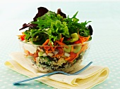 Wheat salad with beans, carrots and celery