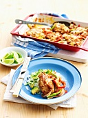 Spiced Mexican chicken breast with an avocado and rice salad