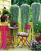 Violette Sitzgruppe auf sommerlichem Balkon; darüber kaskadenartig hängende Pflanzen
