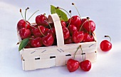 A wooden basket of sweet cherries