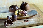 Roasted chestnuts, with and without shells