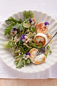 Mixed leaf salad with baked goat's cheese and raspberry vinaigrette