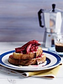 French toast with rhubarb compote and agave syrup