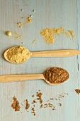 Carob seed flour and burdock powder