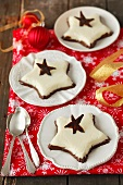 Black and white chocolate mousse stars for Christmas