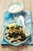 Smoked trout with prunes and creamy horseradish