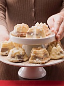 Mini muffins on a cake stand