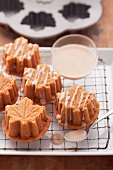 Mini sweet potato cakes made using maple leaf baking tins