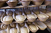 Bread dough rising in baskets