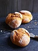 Three pumpkin bread rolls