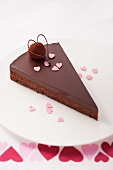 A slice of chocolate cake for Valentine's Day