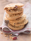 A stack of cranberry cookies