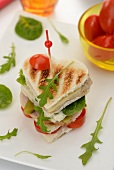 A heart-shaped club sandwich