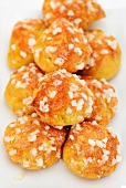 Chouquettes with sugar crystals (choux pastry)