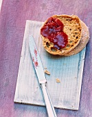 Bread topped with strawberry and prosecco jam