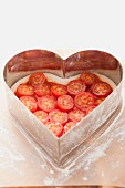 A heart-shaped tomato cake