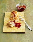 Quark dumpling with plum sauce
