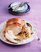 Roast turkey with onion sauerkraut