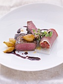 Beef fillet, ham rolls with tartar and horseradish and pearl onions