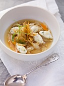 Bread soup with hake dumplings and dill