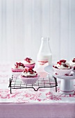 Red velvet coffee cupcakes with pomegranate seeds