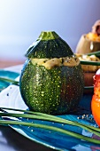 A courgette filled with a sheep's cheese, Parmesan and peppermint omelette