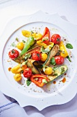 A warm summer vegetable salad