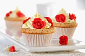 Cupcakes decorated with marzipan roses