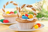 Easter cupcakes decorated with sugar eggs