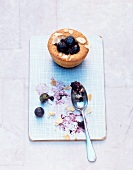A blueberry muffin with slivered almonds