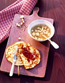 Caraway soup and pancakes with jam