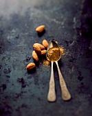 Almonds and ground cardamom
