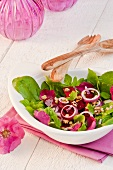 Beetroot, ground-elder, flower petal and walnut salad