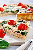 Spinach, tomato and cheese quiche