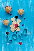 Heart-shaped biscuits, vanilla muffins and the word LOVE spelt out with cutters