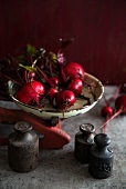 Beetroots on an antique pair of scales