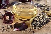 Hollyhocks: tea and petals