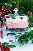 A luxury strawberry cake under a glass cloche